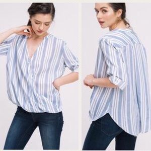 Tops - NWT Stripe Front Crossover Button Down Top